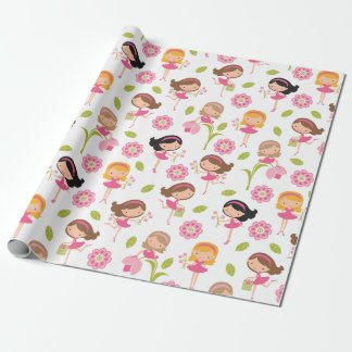 Cute Pink Flower Girls Wrapping Paper