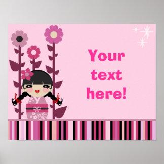 Cute Pink Flower Kokeshi Poster