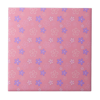 Cute Pink Flower Pattern Small Square Tile