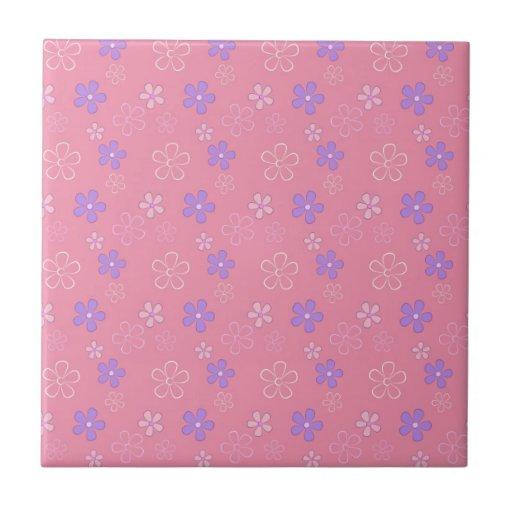Cute Pink Flower Pattern Ceramic Tiles