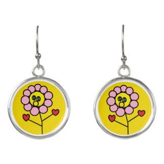 Cute Pink Flower with Red Hearts Design Yellow Earrings