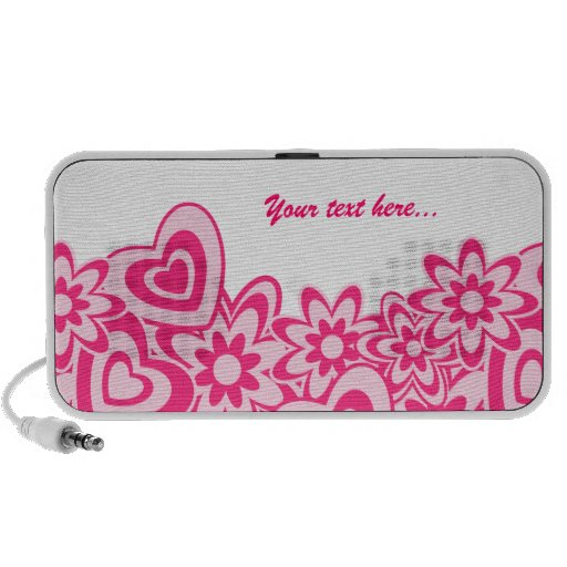 Cute pink flowers and hearts with a name iPod speaker