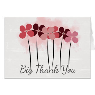 Cute Pink Flowers Custom  Big Thank You Card