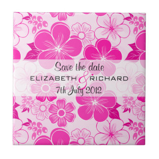 Cute pink flowers Save the date Tile