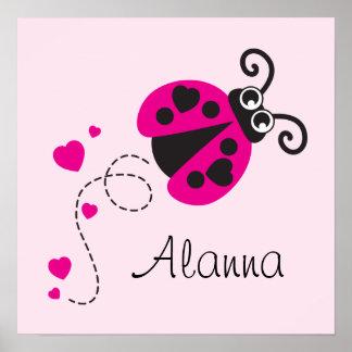 Cute pink flying ladybug kids named poster