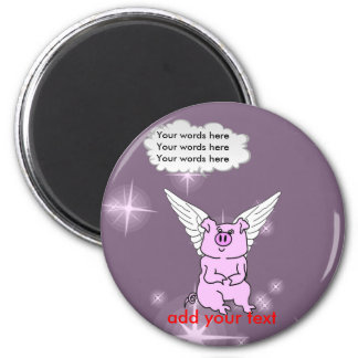 Cute Pink Flying Pig 6 Cm Round Magnet