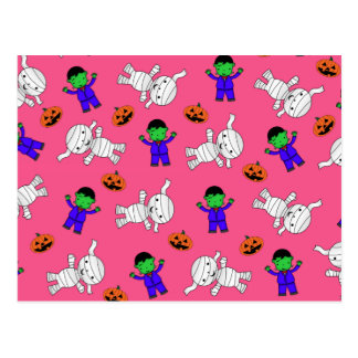 Cute pink Frankenstein mummy pumpkins Post Cards