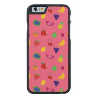 Cute pink fruits pattern carved® maple iPhone 6 slim case