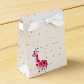 Cute pink giraffe themed design favour box