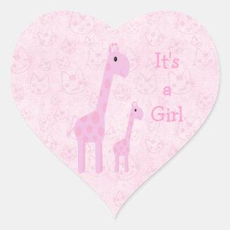 Cute Pink Giraffes & Cats Its A Girl New Baby Heart Sticker