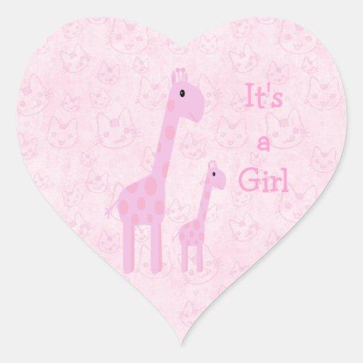Cute Pink Giraffes & Cats Its A Girl New Baby Heart Stickers