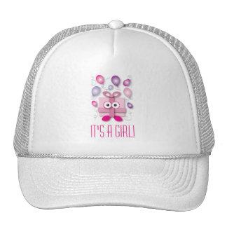 Cute Pink Girl Gift Box Gender Reveal Baby Shower Cap
