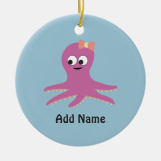 Cute pink girl Octopus Ceramic Ornament