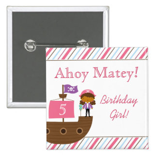 Cute pink girl s pirate birthday party buttons