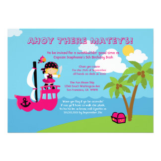 Cute pink girl s pirate birthday party invitation