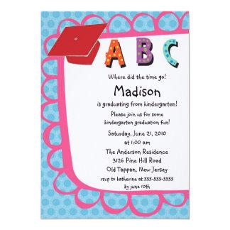 CUTE Pink Girls Kindergarten Graduation Invitation
