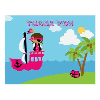 Cute pink girl's pirate custom thank you post card