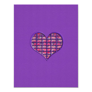 Cute Pink Girly Heart Material Floral Design 11 Cm X 14 Cm Invitation Card