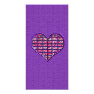 Cute Pink Girly Heart Material Floral Design Photo Card