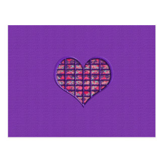 Cute Pink Girly Heart Material Floral Design Postcard