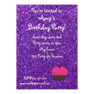 Cute pink glitter cupcake purple glitter 11 cm x 16 cm invitation card
