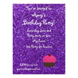 Cute pink glitter cupcake purple glitter invites