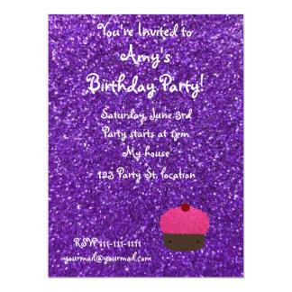 Cute pink glitter cupcake purple glitter 6.5x8.75 paper invitation card