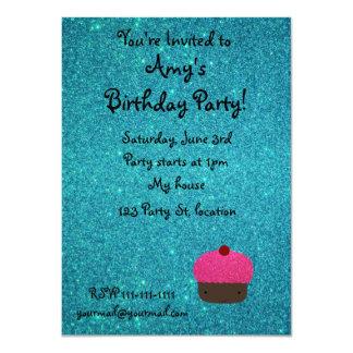 Cute pink glitter cupcake turquoise glitter 11 cm x 16 cm invitation card