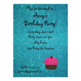 Cute pink glitter cupcake turquoise glitter invitation