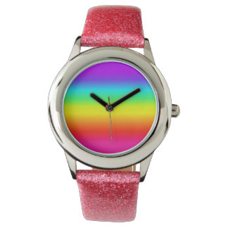 Cute pink glitter rainbow watch