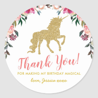 Cute Pink Gold Glitter Unicorn Party Favor Bag Classic Round Sticker
