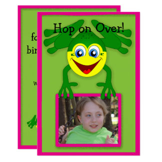 Cute Pink Green Frog Birthday Party Invitation