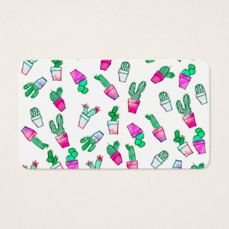 Cute pink green watercolour trendy cactus pattern
