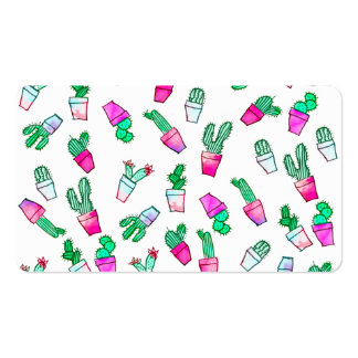 Cute pink green watercolour trendy cactus pattern pack of standard business cards