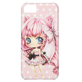 Cute pink-haired anime chibi girl iPhone 5C case
