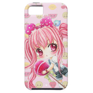 Cute pink haired girl with big lollipop iPhone 5 case