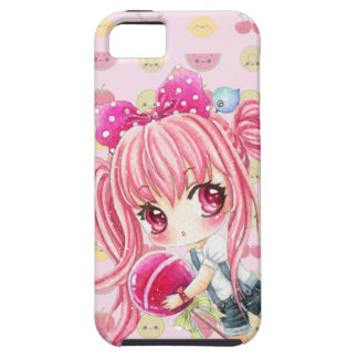 Cute pink haired girl with big lollipop iPhone 5 covers