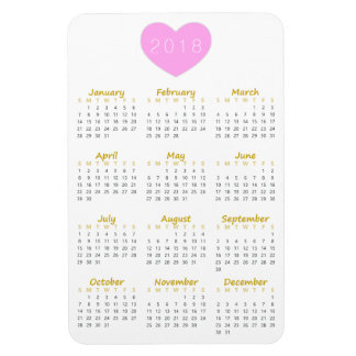 Cute Pink Heart 2018 Calendar Magnet - Gold & Grey
