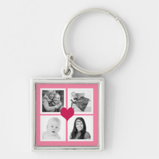 Cute Pink Heart 4 Instagram Photos Collage Silver-Colored Square Key Ring