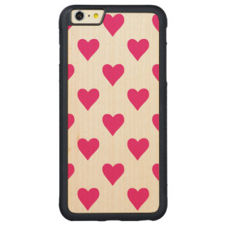 Cute Pink Heart Pattern Love Carved® Maple iPhone 6 Plus Bumper Case
