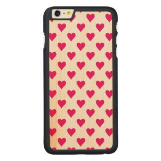 Cute Pink Heart Pattern Love Carved® Maple iPhone 6 Plus Case