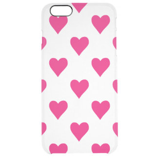 Cute Pink Heart Pattern Love Clear iPhone 6 Plus Case