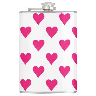 Cute Pink Heart Pattern Love Hip Flask