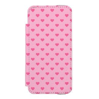 Cute Pink Heart Pattern Love Incipio Watson™ iPhone 5 Wallet Case