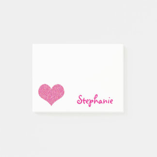 Cute Pink Heart Personalized Girly Name Post-it® Notes