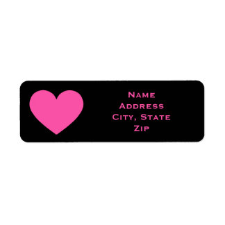 Cute pink heart return address label