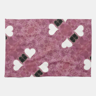 Cute Pink Hearts Abstract Kitchen Towels