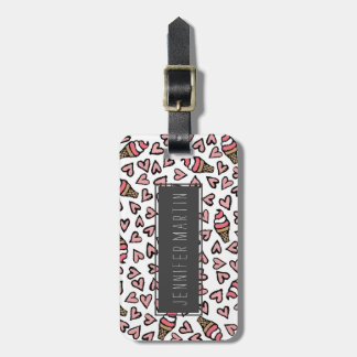 Cute Pink Hearts and Ice Cream Cones Illustrations Luggage Tag