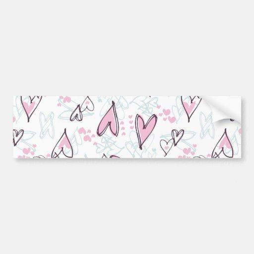 Cute Pink Hearts Love Valentine's Day Design Bumper Stickers