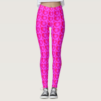 Cute Pink Hearts Valentiines Fashion Gift for Her Leggings